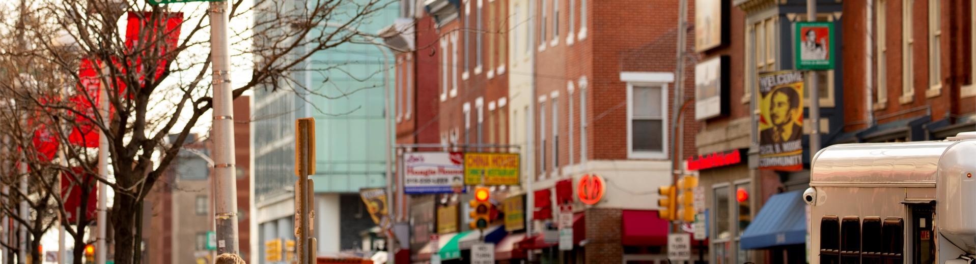 Businesses along Cecil B. Moore Avenue in North Philadelphia.