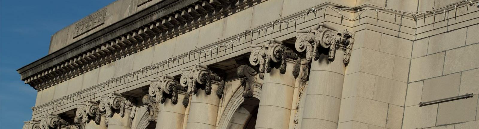 top of a building with columns