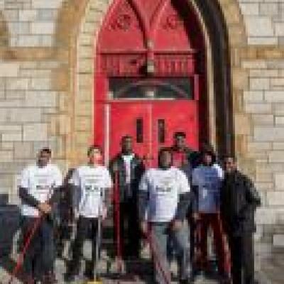 MLK day volunteers outside Berean Presbyterian Church.