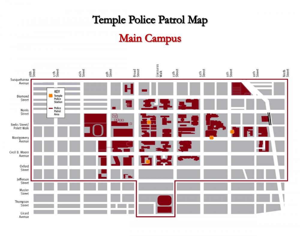 Map of Temple University Main Campus Police Patrol area