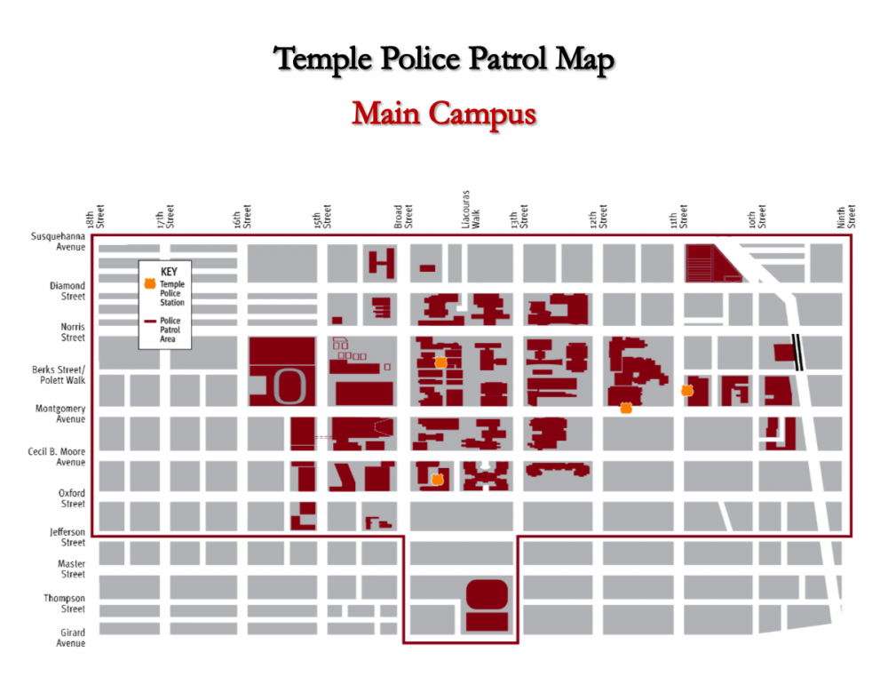Grid map of the police patrol area for Temple University Main Campus.